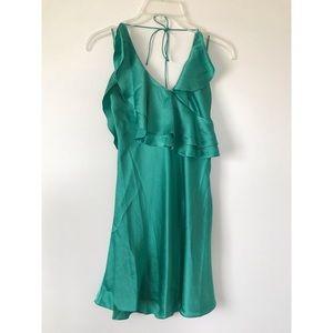 Seafoam seersucker spaghetti strap halter dress